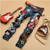 beautiful men legs - NEW men s Jeans pants Straight legged trousers beautiful embroidery badges Metrosexual stitching jeans