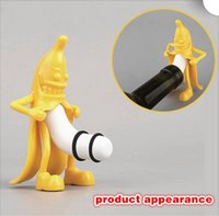 Wholesale New Creative Happy Bananas Bottle Plugs Little Red Men Spoof Wine Lid Stoppers Funny Sealed Storage Kitchen Bar Tools B0937