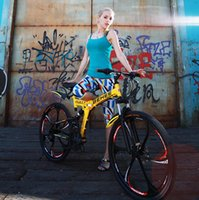 Wholesale Stock In USA Gorgeous yellow inch fashion folding bicycle speed aluminum alloy frame mountain bicycle City fashion folding bike