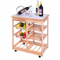 Wholesale New Rolling Wood Kitchen Trolley Cart Dining Storage Drawers Stand Durable HW49745NA