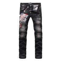 achat en gros de xs micro-NOUVEAU Arrivée BrandPP-2017 Skinny Zipper Fly Hommes Jeans micro-élastique denim Desinger PP117-122 Slim Top qualité trous MENS Jeans
