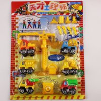 Wholesale Board Mounted Car Toy Model Car Set Cement Tanker Dump Truck Trailer Tower Crane Talent Engineer