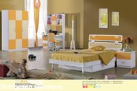 Wholesale MDF Teenage Child Children Kids Bedroom Furniture Set with Door Wardrobe Nightstand Bookcase Yellow