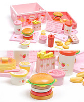 Wholesale Baby Toys Mother Garden Strawberry Simulation Hamburger Box Wooden Toy Potato Chips Cola Food Kitchen Toy Child Educational Gift