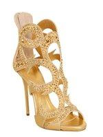 Precio de Las mujeres atractivas de oro-Las nuevas sandalias para mujer del talón de la cubierta del oro abren el envío libre de los altos talones del partido de los altos talones del estilete atractivo del dedo del pie