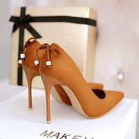 Wholesale Special offer every day spring cm super high heels with a fine shallow mouth with all match suede nightclub sexy ladies shoes