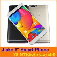 al por mayor smart phones-JIAKE V8 P9 6 pulgadas MTK6580 512 4GB androide 5.1 960 * 540 Dual SIM 3G WCDMA abrió el teléfono elegante Phablet Mobile Gesture descubre la pantalla grande + el caso