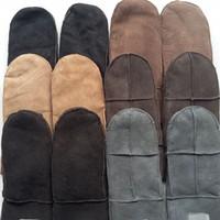 Precio de Guantes de manopla-Hombres de invierno espesar señoras 'espesar manoplas de piel de oveja auténtica, guantes de piel de oveja de cuero genuino guantes de los hombres, estilo de pareja
