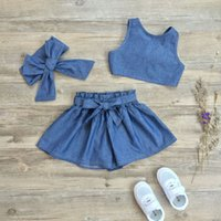 Wholesale Girls Denim Sets Christmas Kids Clothing Summer Sleeveless Vest Tops Bow Short Headband Pieces ER