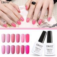 al por mayor uñas kit preciosa-Venta al por mayor-Elite99 12pcs gel de color rosa conjunto encantador para las uñas kit Gelpolish 10ml esmalte de uñas nail art rosa serie de lustre lámpara para secar