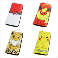 Wholesale 15 Style cm Pokémon Pocket Monsters Wallets Cartoon PU Leather Zipper Wallets Anime Pikachu Charmander Coin Purse