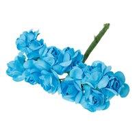 al por mayor flores azules de la sombrerería-Decoración de flores artificiales de papel Millinery Blue 8.0cm (3 1/8