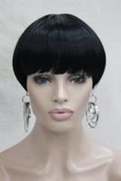 Chaud de mode Jet Black Bob champignon Style avec Bangs Center Dot Skin Top Femme courte quotidienne perruque droite