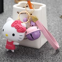 Wholesale New hot factory outlet cute candy color bell cartoon kt cat key chain girl bag pendant variety of color spot