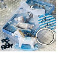 Bébé, garçon, garçon, rose, bleu, cheval de Troie, porte-clés, keychain, cadeau, cadeau, décoration de mariage, cadeau WA1650