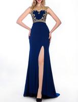 al por mayor mangas cortas vestido joya de la tarde-Spandex vestido de noche Jewel cuello trasero transparente con Crystal Beadings Side Split vestidos de baile azul marino azul real Cap manga vestido de fiesta