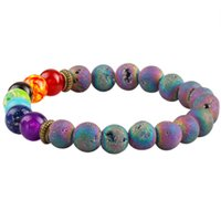 Wholesale Rainbow Matte Lava Rock Chakra Healing Gem Stone mm Beaded Bracelet