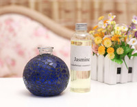 Wholesale No fire aromatherapy suits Deep blue glass bottles of incense Reed Diffuser Catalytic Burner Diffuser Aromatherapy