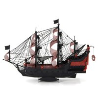 Wholesale 3D Metal Puzzle Colorized Queen Anne s Revenge Model DIY Stainless Steel Pirate Ship Assembly Jigsaw Toy Puzzles for Adults