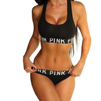 Women Pullover Scoop Neck Women cropped feminino Sports Vest bra Suit Summer vs love pink Letter Printed Underwear Set Casual Cotton Sports Tracksuits Crop Top Thong
