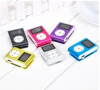 Wholesale Colorful MINI Clip MP3 Player with Inch LCD Screen Music player Support SD Card TF Earphone USB Cable with Gift box