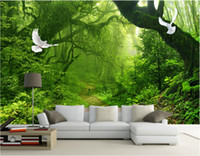 Wholesale 3d room wallpaper custom photo non woven mural Green forest trees home decoration painting picture d wall murals wallpaper for walls d