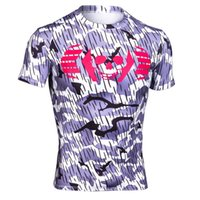 Wholesale Men outdoor compression camo t shirt smile face tight sport fitness gym t shirt bodybuilding running shirt