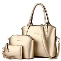 Wholesale 3 Set Vintage Handbags Women Messenger Bags Female Purse Solid Shoulder Bags Office Lady Casual Tote luxury Women s Leather Bag