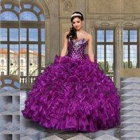 beautiful quinceanera dresses - New Stock Beautiful Beading Purple Quinceanera Dresses Ball Gowns Beaded Sweet Dresses For Years Vestido De Debutante QC252