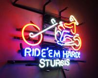 Wholesale 17 X14 Ride Em Hard Sturgis Motorcycle Vintage Handcraft Art Work Neon Sign Light