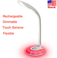 Wholesale LED Reading Deak Lamp Dimmable Rechargeable Eye caring Gooseneck Table Light Multi Color Base Touch control W for Student kids Gifts