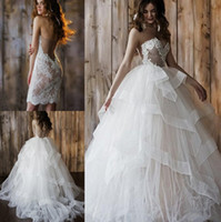 Wholesale 2017 New Arrival Overskirts Ball Gown Wedding Dresses Sexy Backless Sweetheart Lace Appliques Organza Long Bridal Gowns Detachable