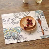 bamboo cloth napkins - American country printing butterfly double thick cloth place mat table runner with doily napkin