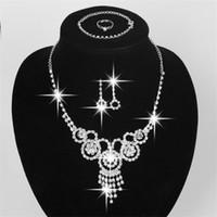 Mode 925 Argent Cristal Rhinestone CZ Collier Boucles D'oreilles Bagues Bracelets Ensembles Mariage Accessoires Bijoux Mariage Ensemble