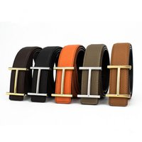 Wholesale High Quality Mens Leather Belts Luxury H Smooth Buckle Belts For Men Colors Litchi Grain Leather Belt With Box