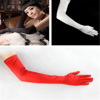 Wholesale Wedding Gloves Long cm Ladies Stretchy Satin Mittens Gloves Wedding Party Bridal Opera Gloves Different Colors for Choice DHL Free