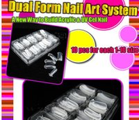 Vente en gros- 100 PCS DUAL NAIL ART SYSTÈME FORMULE UV GEL ACRYLIQUE False TIPS Salon Tools Set Nouveau BEMLP
