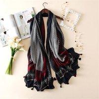 Acheter Bohème rétro foulards gros-Brand-gros rétro art éthinc foulards bohème géométrique floral écharpe écusson foulards musulmans hijab coton marque de mode long 95 * 185