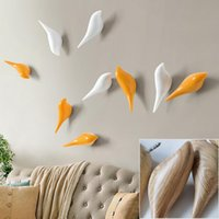 Wholesale Stereoscopic Bird Wall Hooks Creative Home Decoration Resin Hooks For Bedroom Bathroom Robe Coat Hat Purse Key