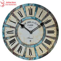Wholesale quot Vintage Wood Wall Clock French Country Cafe De La Gare Retro Style Non Ticking Wooden Retro Wall Clock For Living Room