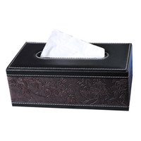 Wholesale Leather High Class and Fashionable Tissue Box Rectangle Tissue Box Cover Napkin Holder for Home Office Car Automotive Decoration