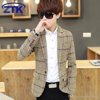 Wholesale Autumn Winter window check pattern woolen men slim fit suit blazer three color yellow light grey blue