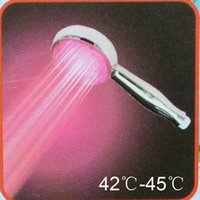 Wholesale 3 RGB Colors LED Temperature Sensor Control Romantic Lights Bathroom Shower Head Sprinkler Light Therapy For The Shower