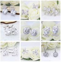 Wholesale 2017 New Hot Sterling Silver Stud Earrings Owl Bowknot Flower Cubic Zirconia Silver Earrings Jewelry For Women Party Prom Anniversary