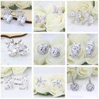 Wholesale 2017 New Silver Stud Earrings Owl Bowknot Flower Dsn For Women Wedding Silver Earrings Jewelry