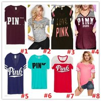 Wholesale newest vest Off Shoulder summer tanks colors camis short Sleeve love female Tops tees sweatshirt pink