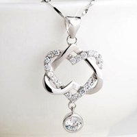 Wholesale FedEx Express Hot selling Silver Plated Women Double Heart Pendant Necklace Chain Jewelry for mon girlfriend gift