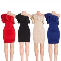 bag cocktail dresses - Europe and the big single leaf edge inclined shoulder shoulder charge bag hip slim dress fashion sexy dress skirt