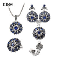 Wholesale Sapphire Jewelry Sets Silver Plating Round Vintage Flower Crystal Ring Earring Bracelet And Pendant Necklace Set