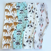 animal trousers - New Baby INS Cartoon Leggings Boys Girls Cotton Batman Tights Spring Infant Trousers Fox Tiger Long Pants Kids Christmas Gift